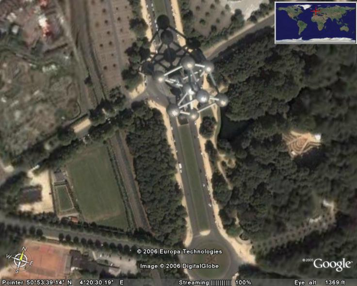 Atomium In Google Earth Google Earth Cool Places