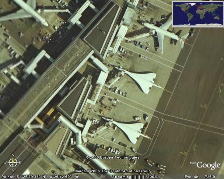 Concordes At Heathrow In Google Earth Google Earth Cool Places